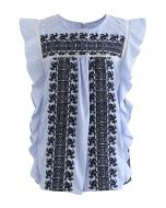 Embroidered Floret Striped Sleeveless Top