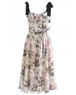 Pink Peony Blossom Tie-Strap A-Line Midi Dress