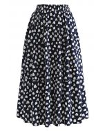 Lovely Heart Print Cotton Midi Skirt in Navy