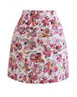 Mini-jupe fleurie en relief en rose vif