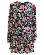 Wild Rose Ruched Frill Hem Mini Dress in Navy