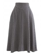 Houndstooth Tweed Textured A-Line Midi Skirt