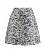 Black Irregular Dot Mini Skirt