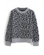 Leopard Pattern Round Neck Knit Sweater in Grey
