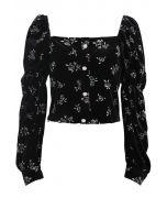 Glittery Rose Buttoned Velvet Top in Black