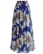 Jupe Merveilleuse Florale Longue en Mousseline de Soie Bleu