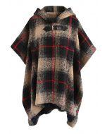 Cape en mélange de laine à capuche et à carreaux Tribe Check - Tan