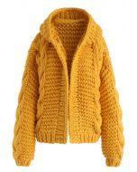 Cardigan épais à capuche couleur moutarde