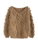 Pull tricoté col en V beige