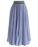 Avez-vous entendu cette jupe plissée à rayures en bleu