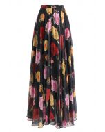 Blooming Rose Watercolor Maxi Skirt in Black