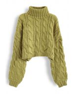 Turtleneck Braid Knit Crop Sweater in Moss Green