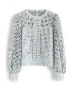 Full Crochet Puff Sleeves Crop Top in Mint
