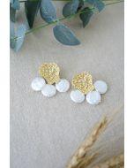 Golden Petal Coin Pearls Drop Earrings